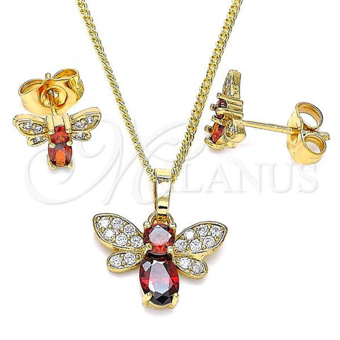 Gold Layered 10.210.0122.3 Earring and Pendant Adult Set, Bee Design, with Garnet Cubic Zirconia and White Micro Pave, Polished Finish, Golden Tone
