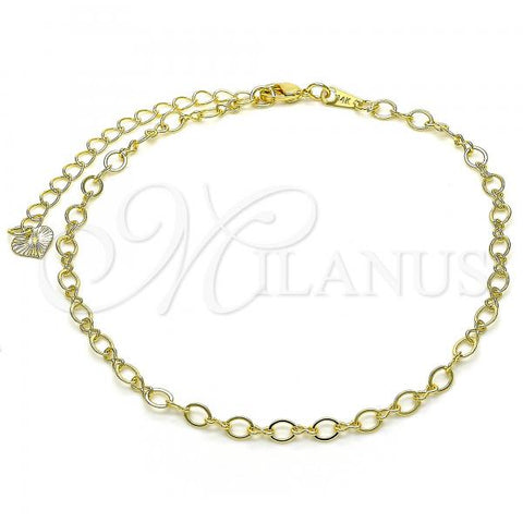 Gold Layered 03.318.0012.10 Fancy Anklet, Polished Finish, Golden Tone