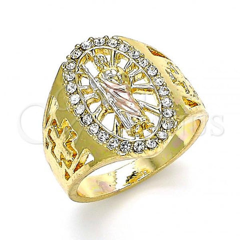 Gold Layered Mens Ring, San Judas Design, with Crystal, Tri Tone