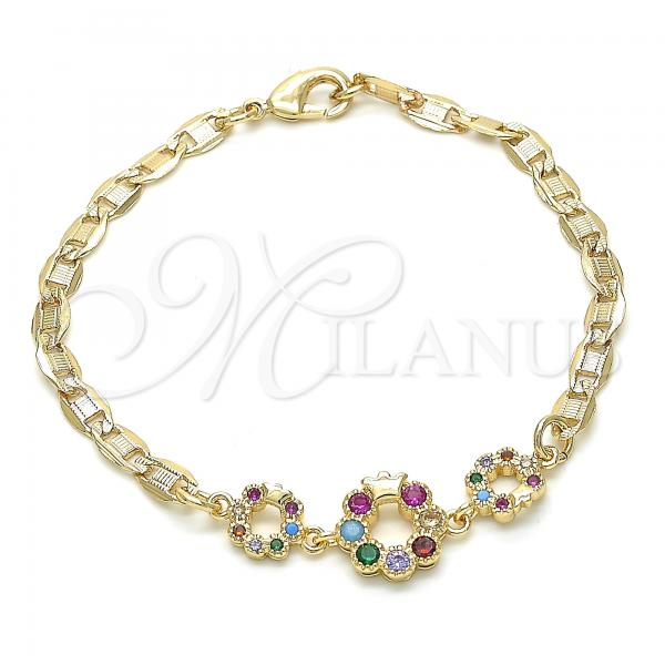 Gold Layered 03.233.0027.08 Fancy Bracelet, Crown Design, with Multicolor Cubic Zirconia, Polished Finish, Golden Tone