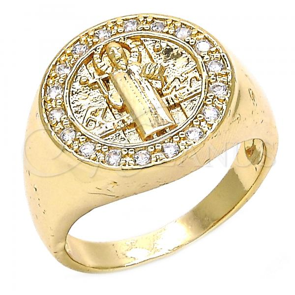 Gold Layered Mens Ring, San Benito Design, with Cubic Zirconia, Golden Tone