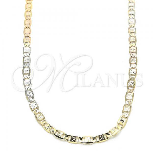 Gold Layered 04.65.0200.24 Basic Necklace, Mariner Design, Diamond Cutting Finish, Tri Tone