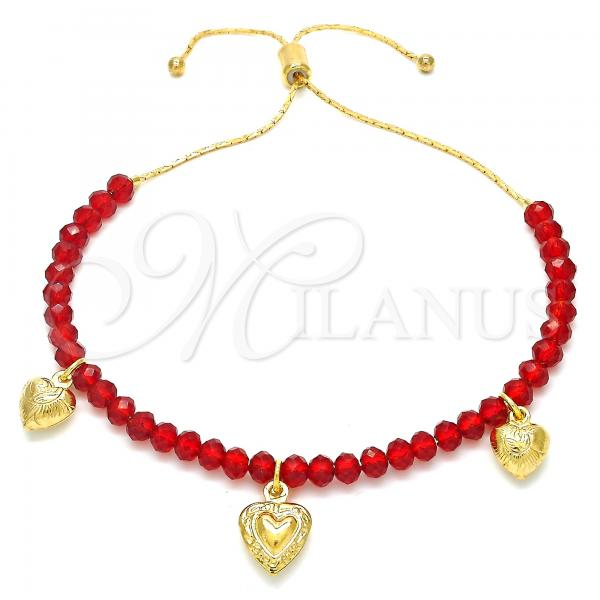 Gold Layered 03.32.0232.07 Charm Bracelet, Heart Design, with Ruby Crystal, Polished Finish, Golden Tone