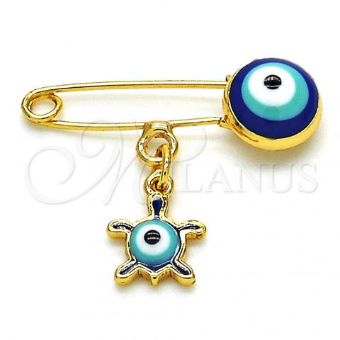 Gold Layered 13.60.0005 Basic Brooche, Turtle and Greek Eye Design, Blue Enamel Finish, Golden Tone