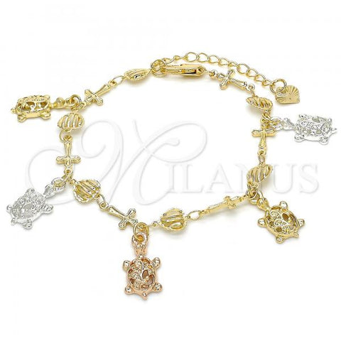Gold Layered 03.351.0016.07 Charm Bracelet, Turtle and Cross Design, Polished Finish, Tri Tone