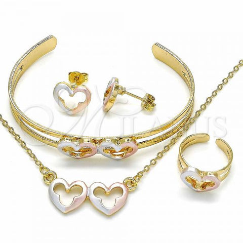 Gold Layered 06.361.0013 Necklace, Bracelet, Earring and Ring, Heart Design, Polished Finish, Tri Tone