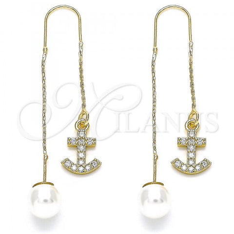 Gold Layered 02.210.0396 Threader Earring, Anchor Design, with White Micro Pave, Polished Finish, Golden Tone