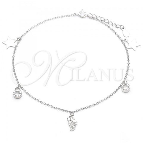 Sterling Silver 03.336.0053.10 Charm Anklet , Feet and Star Design, with White Cubic Zirconia, Polished Finish, Rhodium Tone