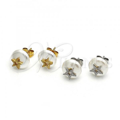 Stainless Steel Stud Earring, Star Design, with Pearl, Steel Tone