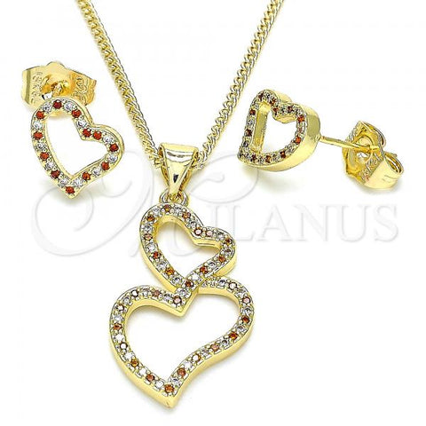 Gold Layered 10.156.0296.1 Earring and Pendant Adult Set, Heart Design, with Garnet and White Micro Pave, Polished Finish, Golden Tone