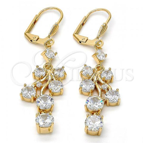 Gold Layered Long Earring, Cherry Design, with Cubic Zirconia, Golden Tone