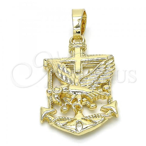 Gold Layered 05.213.0021 Fancy Pendant, Anchor and Eagle Design, Polished Finish, Golden Tone