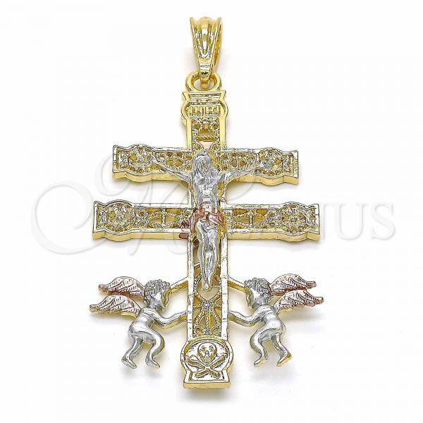 Gold Layered 05.351.0034 Religious Pendant, Crucifix and Angel Design, Polished Finish, Tri Tone