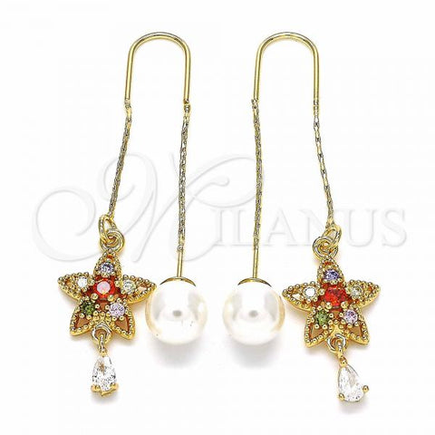 Gold Layered 02.357.0031 Threader Earring, Flower and Teardrop Design, with Multicolor Cubic Zirconia, Polished Finish, Golden Tone