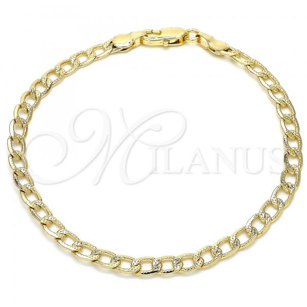 Gold Layered 04.213.0138.08 Basic Bracelet, Curb Design, Polished Finish, Golden Tone