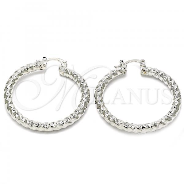 Rhodium Plated 02.170.0108.2.40 Medium Hoop, Twist Design, Diamond Cutting Finish, Rhodium Tone