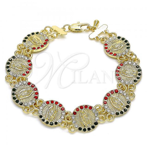 Gold Layered 03.351.0091.08 Fancy Bracelet, Guadalupe Design, with Multicolor Crystal, Polished Finish, Golden Tone