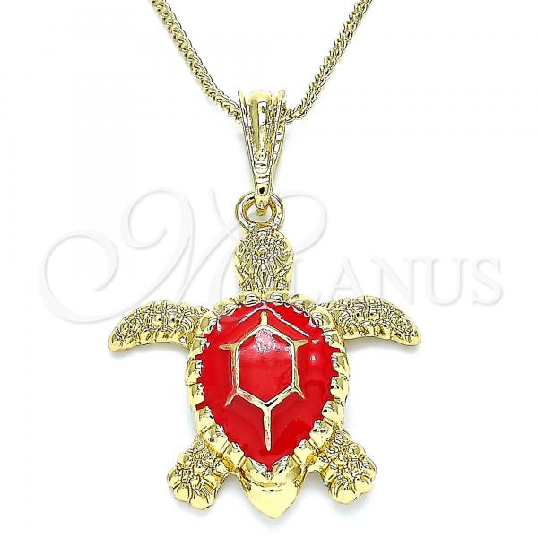 Gold Layered 04.380.0001.2.20 Pendant Necklace, Turtle Design, Red Enamel Finish, Golden Tone
