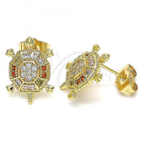 Gold Layered 02.210.0413.1 Stud Earring, Turtle Design, with Multicolor Micro Pave, Polished Finish, Golden Tone