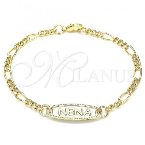 Gold Layered 03.63.2156.06 ID Bracelet, Buffalo Design, Polished Finish, Golden Tone