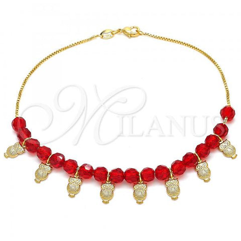 Gold Layered 03.32.0206.10 Charm Anklet , Owl and Box Design, with Ruby Crystal, Red Polished Finish, Golden Tone