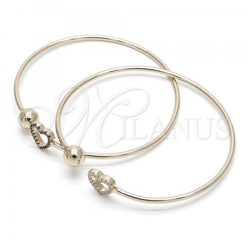 Gold Layered Individual Bangle, Ball and Heart Design, with Crystal, Golden Tone