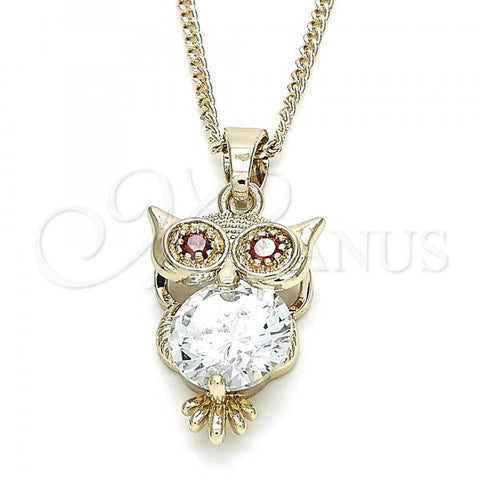 Gold Layered 04.210.0033.20 Fancy Necklace, Owl Design, with White and Garnet Cubic Zirconia, Polished Finish, Golden Tone