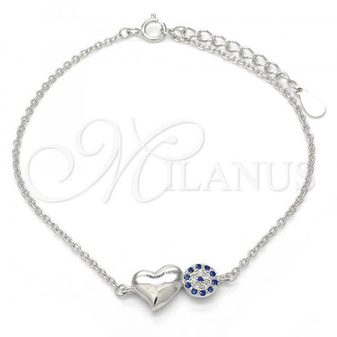 Sterling Silver 03.336.0017.07 Fancy Bracelet, Heart Design, with Sapphire Blue and White Micro Pave, Polished Finish, Rhodium Tone