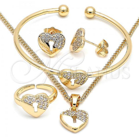 Gold Layered 06.210.0026 Earring and Pendant Children Set, Heart and Lock Design, with White Micro Pave, Polished Finish, Golden Tone