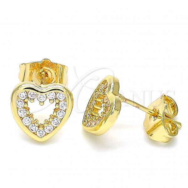 Gold Layered 02.156.0515 Stud Earring, Heart Design, with White Cubic Zirconia, Polished Finish, Golden Tone