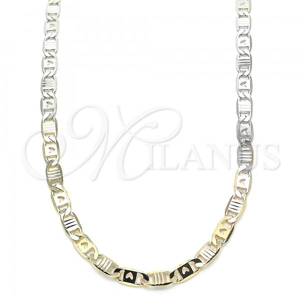 Gold Layered 04.65.0201.24 Basic Necklace, Mariner and Heart Design, Polished Finish, Tri Tone
