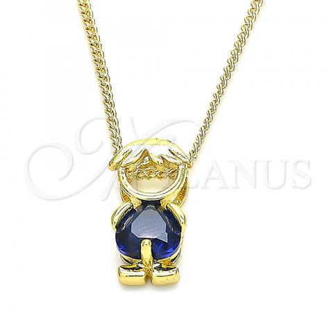 Gold Layered 04.341.0017.20 Pendant Necklace, Little Boy Design, with Sapphire Blue Cubic Zirconia, Polished Finish, Golden Tone
