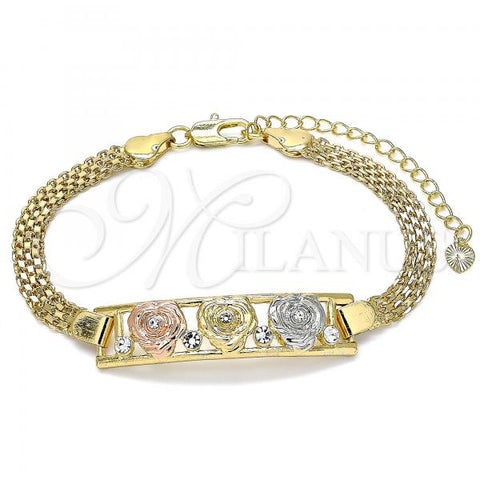 Gold Layered 03.380.0023.08 Fancy Bracelet, Flower Design, with White Crystal, Polished Finish, Tri Tone