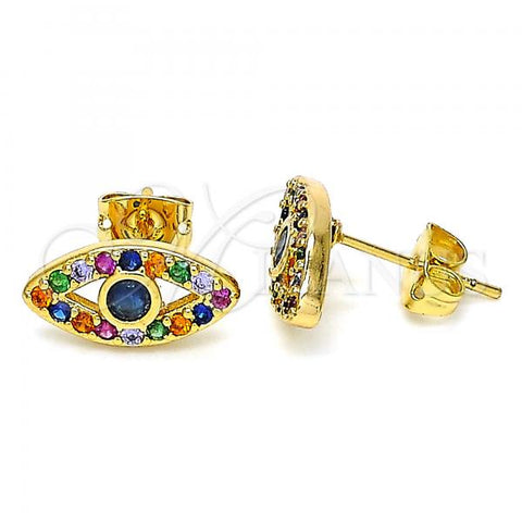 Gold Layered 02.377.0021 Stud Earring, with Multicolor Micro Pave, Polished Finish, Golden Tone