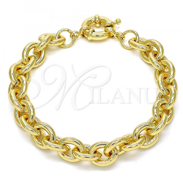 Gold Layered 03.319.0009.08 Basic Bracelet, Rolo Design, Polished Finish, Golden Tone