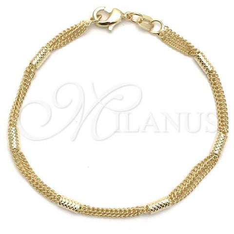 Gold Layered 03.32.0324.06 Basic Bracelet, Miami Cuban Design, Polished Finish, Golden Tone