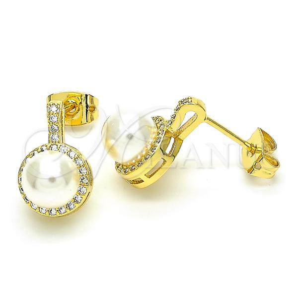 Gold Layered 02.156.0371 Stud Earring, Ball Design, with Ivory Pearl and White Cubic Zirconia, Polished Finish, Golden Tone
