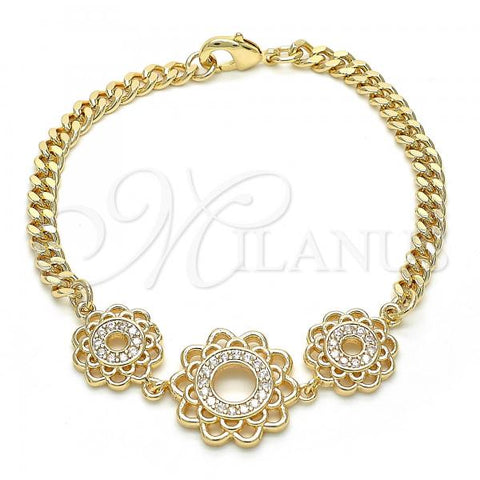 Gold Layered 03.233.0044.08 Fancy Bracelet, Flower Design, with White Cubic Zirconia, Polished Finish, Golden Tone