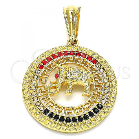 Gold Layered 05.351.0004 Fancy Pendant, Elephant and Greek Key Design, with Multicolor Crystal, Polished Finish, Golden Tone