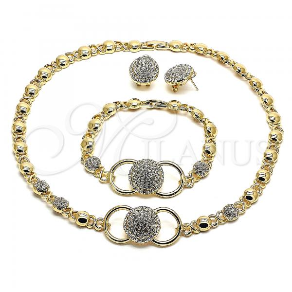 Gold Layered 06.372.0006 Necklace, Bracelet and Earring, Hugs and Kisses Polished Finish, Design, Golden Tone with White Crystal, Polished Finish, Golden Tone