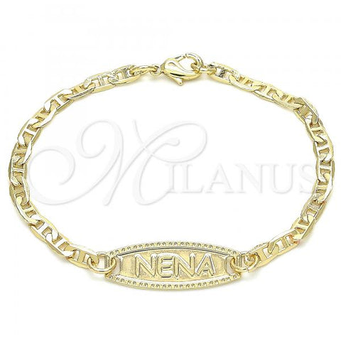Gold Layered 03.63.2157.06 ID Bracelet, Mariner Design, Polished Finish, Golden Tone