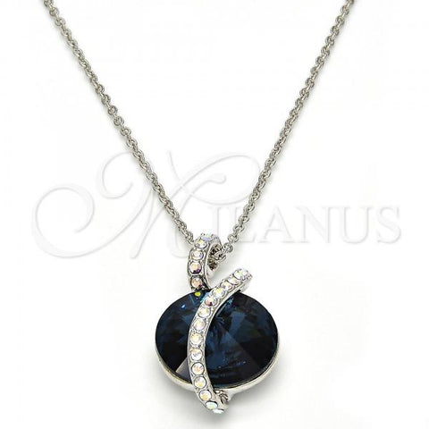 Rhodium Plated Pendant Necklace, with Swarovski Crystals, Rhodium Tone