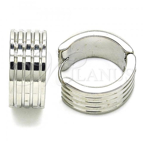 Stainless Steel 02.230.0032.20 Huggie Hoop, Polished Finish, Steel Tone