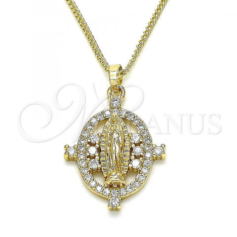 Gold Layered 04.284.0049.20 Pendant Necklace, Guadalupe Design, with White Micro Pave, Polished Finish, Golden Tone