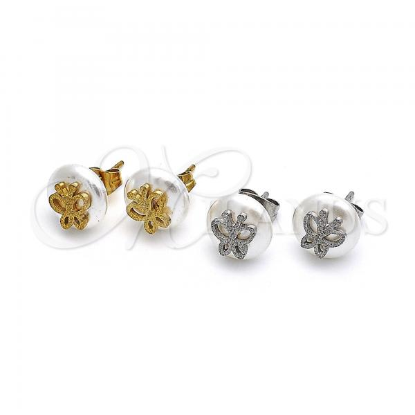 Stainless Steel Stud Earring, Butterfly Design, with Pearl, Steel Tone