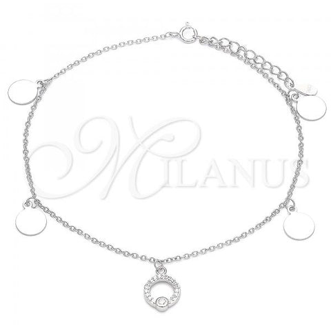 Sterling Silver 03.336.0054.10 Charm Anklet , with White Cubic Zirconia, Polished Finish, Rhodium Tone