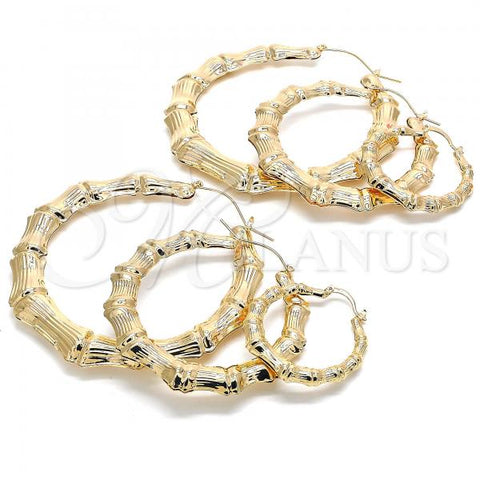Gold Layered Medium Hoop, Hollow and Bamboo Design, Golden Tone