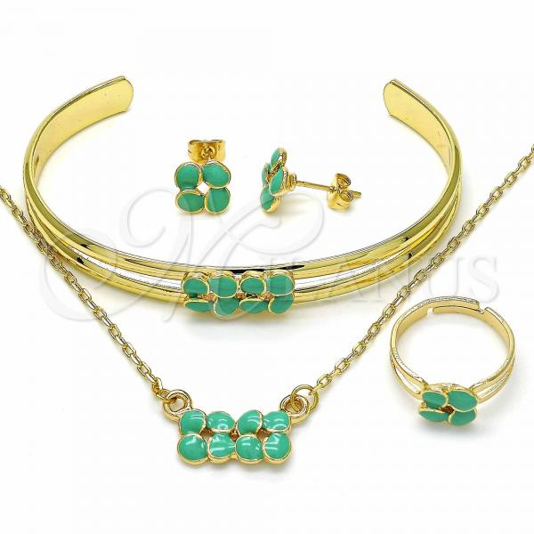 Gold Layered 06.361.0010 Necklace, Bracelet, Earring and Ring, Turquoise Enamel Finish, Golden Tone