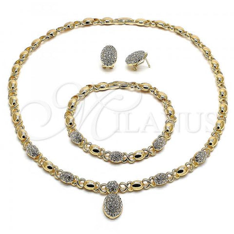 Gold Layered 06.372.0007 Necklace, Bracelet and Earring, Hugs and Kisses Design, with White Crystal, Polished Finish, Golden Tone