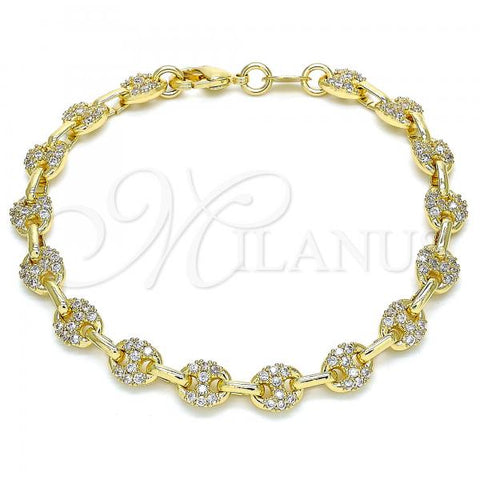 Gold Layered 04.63.1401.07 Fancy Bracelet, Puff Mariner Design, with White Micro Pave, Polished Finish, Golden Tone